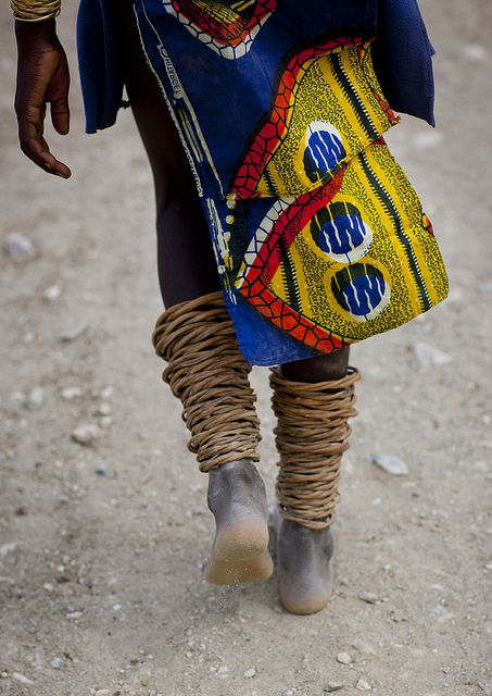 Mucubal With Anklets, Virie Area, Angola  by Eric Lafforgue