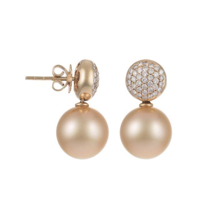 Golden South Sea Pearl, Diamond & 18K Yellow Gold Earrings (BPEARLS01 1109110)