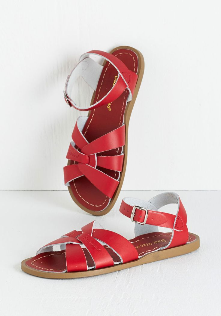 Salt Water Sandal in Red. A sunny reception from your friends is a shore thing when you come dancing across the dunes in thesestunning shoes by Salt Water Sandals! #red #modcloth