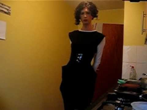 Transvestite 1st video - Black pinafore