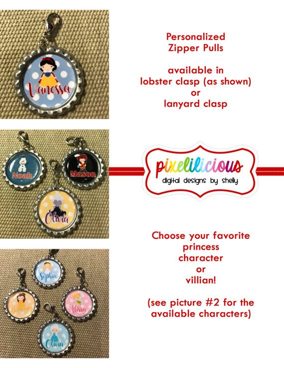 Princess Party Favor Personalized Zipper Pull Princess Id Tag