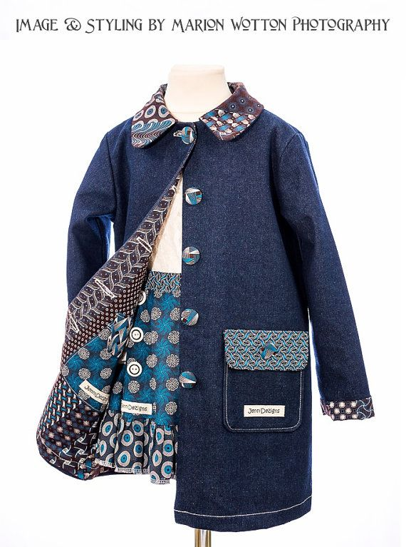 Girls Winter Denim/ African Print Coat  by JenniDezignsClothing