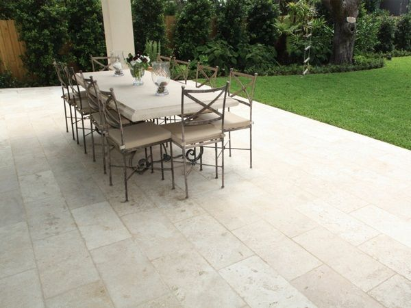 Natural stone floor outdoor travertine wrought iron Dining ...