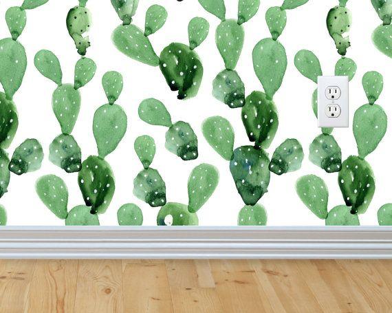 Self-adhesive Removable Wallpaper, Cactus Wallpaper, Peel and Stick Fabric Wallpaper, Custom Design Wall Mural