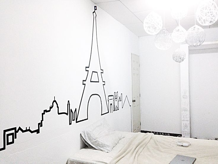 Washi tape Paris skyline. Made with electrical tape. Diy decor on a budget