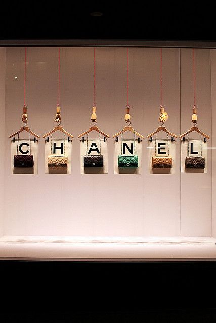 Straightforward yet charming Chanel handbag display #Chanel #Retail