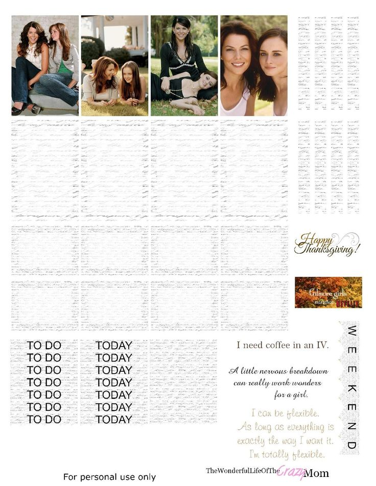 Gilmore Girls free printable Planner stickers, Gilmore