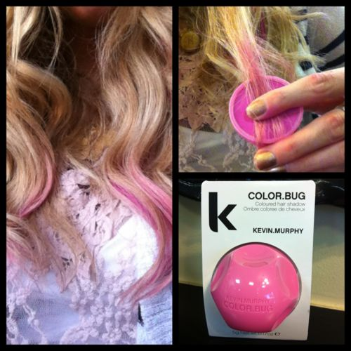 "color bug - hair dye that goes on over top of your product and comes out in one wash - like makeup for your hair! :)    Better alternative than ""chalking"" your hair"
