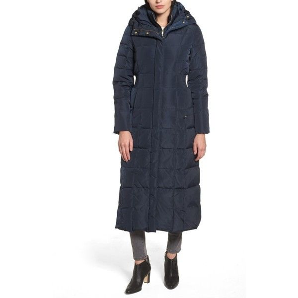 Women's Cole Haan Quilted Coat With Inner Bib (10.635 RUB) ❤ liked on Polyvore featuring outerwear, coats, navy, cole haan coats, hooded coat, long quilted coat, hooded quilted coat and navy blue long coat