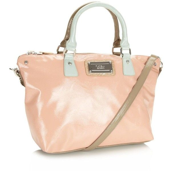 Peach colour block large grab bag (120 BRL) ❤ liked on Polyvore featuring bags, handbags, purses, women's clothing, gold purse, pink handbags, man bag, color block handbag and gold handbags
