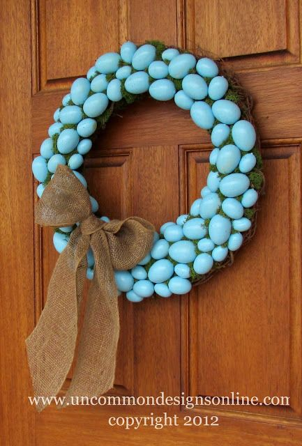 Robin's Egg Blue Easter Wreath { Easter Decorating Idea } - Uncommon Designs...
