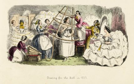 Dressing for the Ball in 1857, from 'Follies of the Year: a series ... from Punchs Pocket Books 1844-1866', London: Bradbury, Evans  Co., [...: