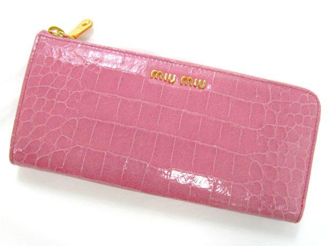 ミュウミュウL型ZIP長財布/ピンク/型押しカーフ(クロコ調)5M1183 -ミュウミュウ財布コピー