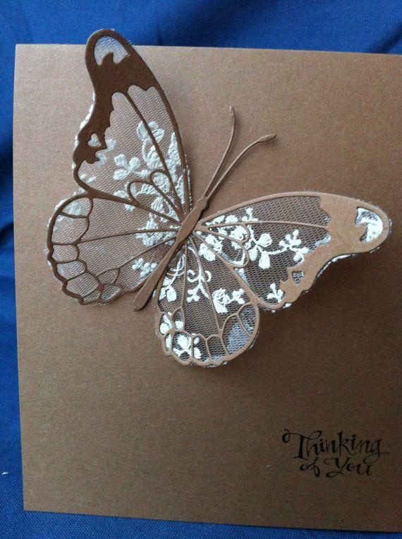 Cartes de papillon dentelle de coton fait main Ivoire par Bermarc