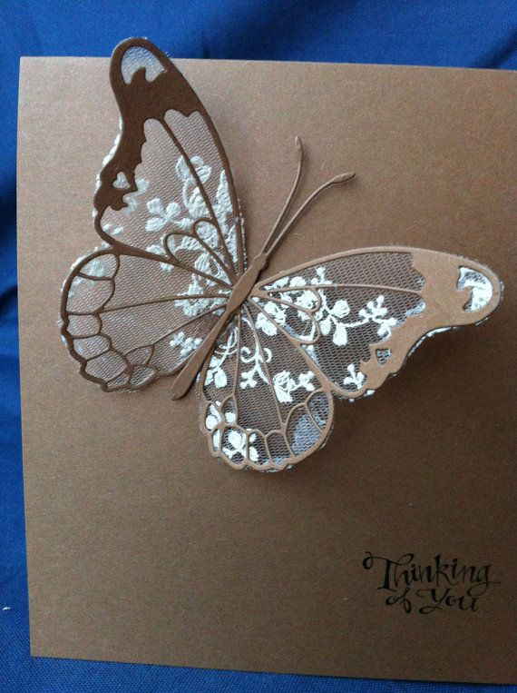 Cotton Lace Butterfly Cards Handmade Ivory Chic Wedding by Bermarc