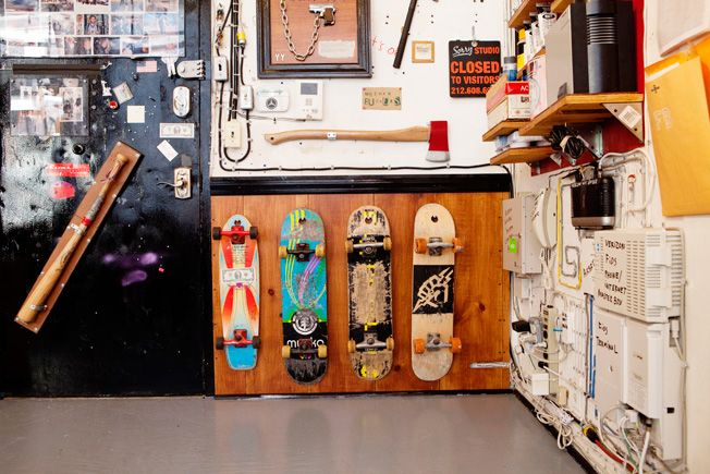Skateboards hung through holes in the nose... unsure how to categorize this Pin? Extreme? Rides?  DIY it is!  Casey Neistat Can Pretty Much Do Anything He Wants When Creating Commercials | Adweek