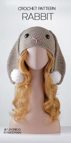 "RABBIT HAT CROCHET PATTERN from the book ""Amigurumi Animal Hats Growing Up"" by Linda Wright. 20 crocheted animal hat patterns for Ages 6-Adult. Book available at Amazon.com and BarnesandNoble.com. http://www.amazon.com/dp/1937564991/"