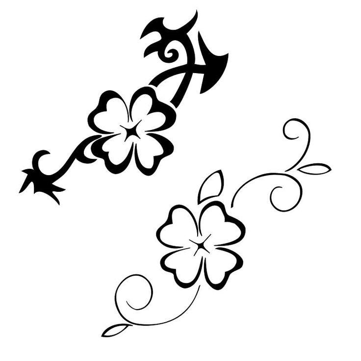 Black And Grey Four Leaf Clover Tattoo Design - Clover Tattoo Designs