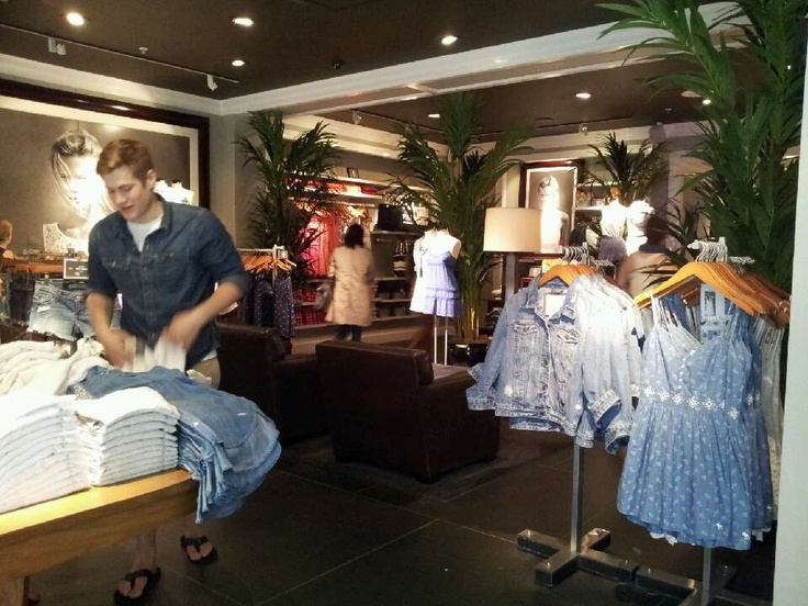 Abercrombie & Fitch . The decoration is very comfortable, you can see some trees in the store.The spotlights are adjusting very well.The clothings are nice.They are all in the right way.Everything is good, just can't find anything I want.