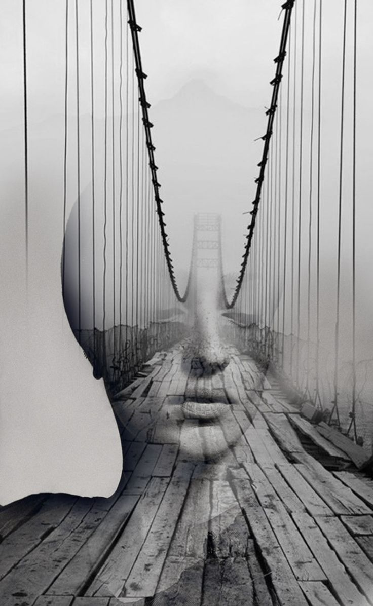 This montage is extremely haunting; the somber expression of the woman and dilapidated nature of the bridge are blended in eerie harmony and overall displays a sense of artistry and evident talent.