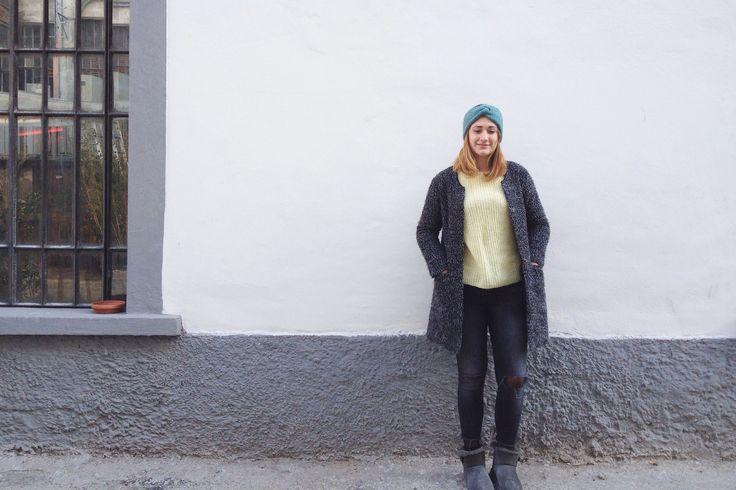 Fascia Turbante turchese in lana e alpaca fatta a maglia : Accessori per capelli di dolcedormire