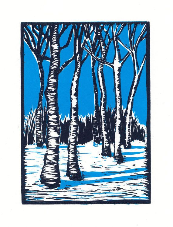 Snow Birch Linocut Print - so simple and I live the blue shadows.