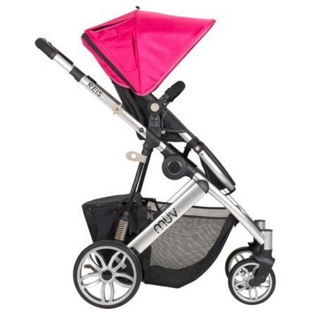 Muv Reis 4 Wheel Stroller Silver Frame with Bassinet - Candy