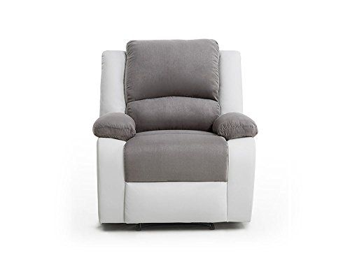 Usinestreet Fauteuil Relaxation 1 Place Microfibre Grise Simili Cuir Blanc Detente Fauteuil Relax Canape Relax Fauteuil
