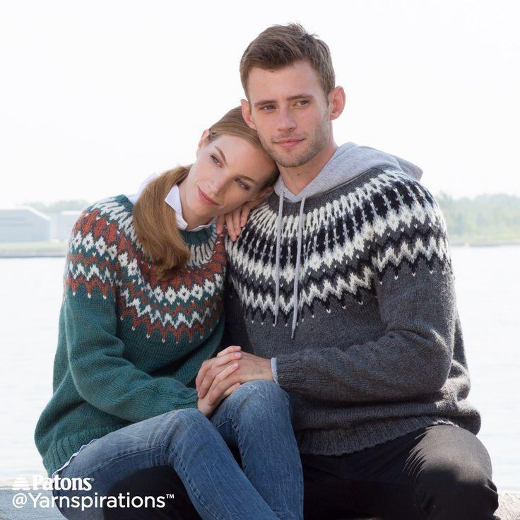 His and Hers Knit Yoke Sweaters | Free Pattern | Yarnspirations