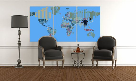 26 best travel quotes travel decor images on pinterest travel items similar to large blue typography map wall art blue world map from words map from countries names map in text print text world map canvas wall art gumiabroncs Gallery