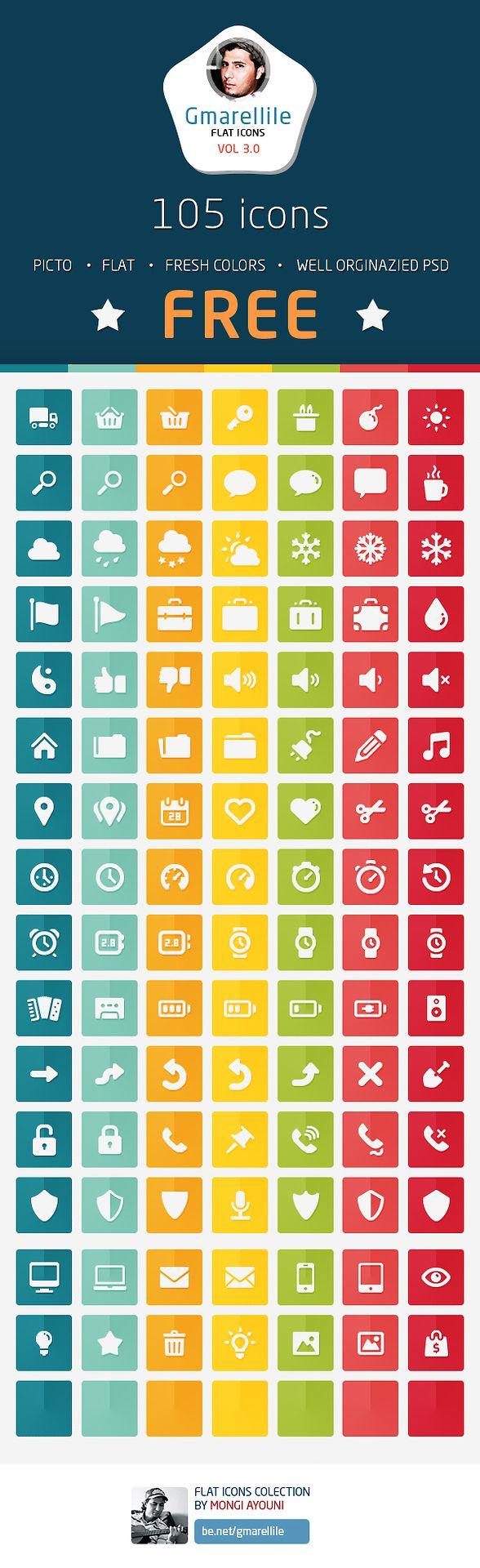 Gmarellile - 105 Free Flat Icons