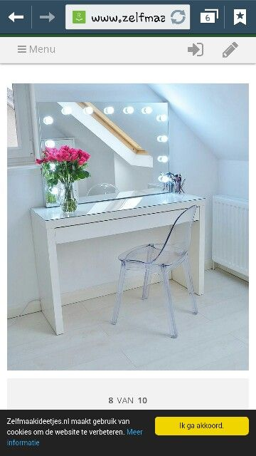 Beautyfull dressing table with flowers and lighting above the mirror.