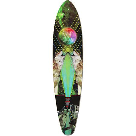 The Mercer Space Wolf longboard deck is great way to get around in style. The Mercer Space Wolf longboard deck features a custom Mercer outer space wolf bottom graphic complete with lasers and a prism colored moon. Built with a sturdy 7-ply maple deck thi