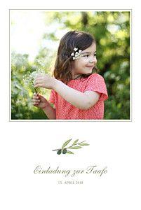 Taufeinladung Olivenzweig weiß von Tomoe für Rosemood.de #Taufe #Taufkarte #Olivenzweig