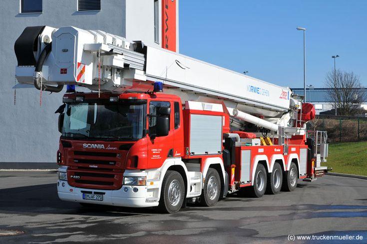 Scania P 420 10x4*6 # GMB F 90 HLA (Gelenkmast mit Bühne)  KennzeichenBM-WF 270 ----------------  *Baujahr:2008 *FunkrufnameFlorian RWE15 - 36 - 01 *Geliefert  Fahrgestell:Scania P 420 10x4*6 HHA=Erstzulassung  Aufbau/Ausbau:Bronto Skylift / #Rosenbauer Werkfeuerwehr  #AT RWE Power