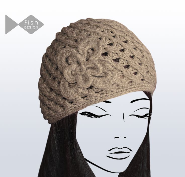 Knitted Hollow Hat for Women with Floral Accessory