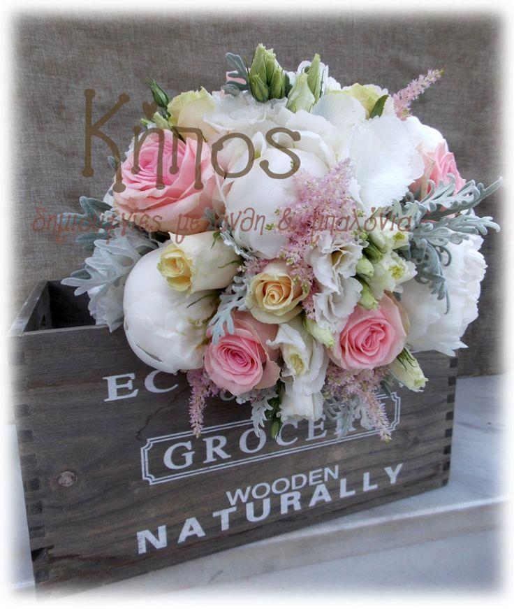 νυφικό μπουκέτο πεονιες ροζ εκρου τριανταφυλλα, γκρι -ανθοπωλείο κήπος