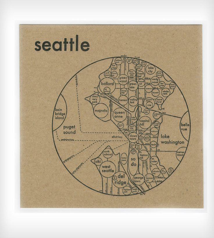 Large Seattle Circle Map Print 25 best