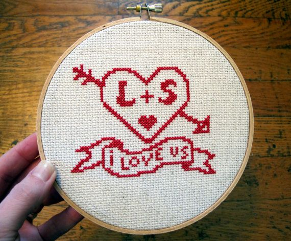 custom 'i love us' crossstitch pattern by cozyblue on Etsy, $5.00