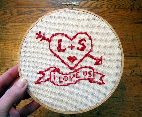 custom 'i love us' crossstitch pattern by cozyblue on Etsy, $5.00