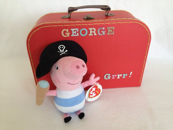 George can go anywhere with his lovely nautical bed in a suitcase.  Includes 20 cm George ty Beanie, Sass and Belle suitcase and handmade nautical bedding. Suitcase dimensions: 29 x 20 x 10cm  Lovely gift for a Peppa Pig fan.