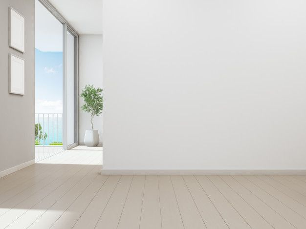 Empty White Wall Background In Vacation Home Or Holiday Villa In