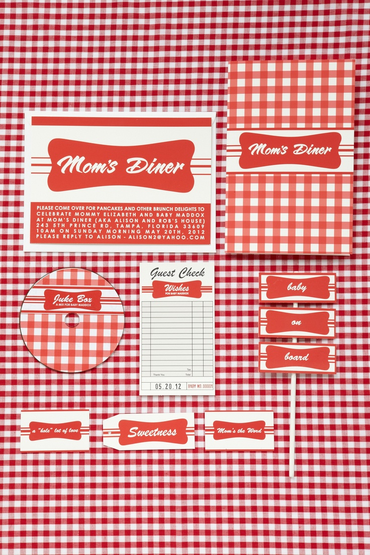 Gingham Accessories. Get your gingham ready with a table cloth, checkered napkins, a full menu and order slips to create the feeling of an authentic diner at your baby shower.