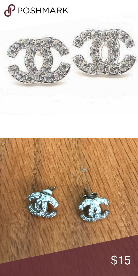 Chanel Stud Earrings (Fake) Chanel Stud Earrings!! Talk about bling! Jewelry Earrings
