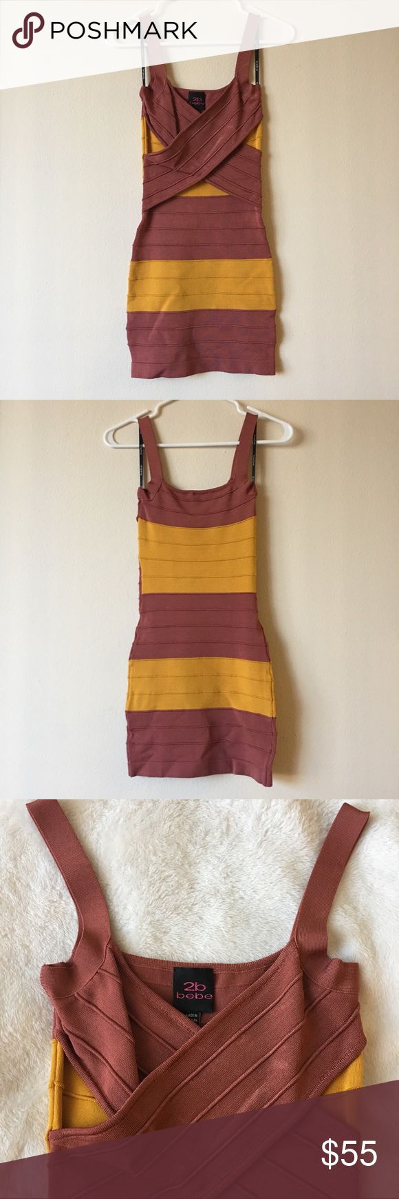 💗NWOT💗 2B Bebe Bandage Dress **NWOT** 2B Bebe Bandage Dress - XS - Colors: mustard yellow and maroon - Materials: 84% Rayon & 14% spandex - Approx length: 31'' (falls high thigh) - True to size very form fitting but stretchy - Will hug your body - Great going out Dress! And so cute on!  Very flirty pair it with heels for a girls night out - Not padded or lined 💗 Comment me if you have any questions and send me your bundle for a private discount 🥂 2B Bebe Dresses Mini