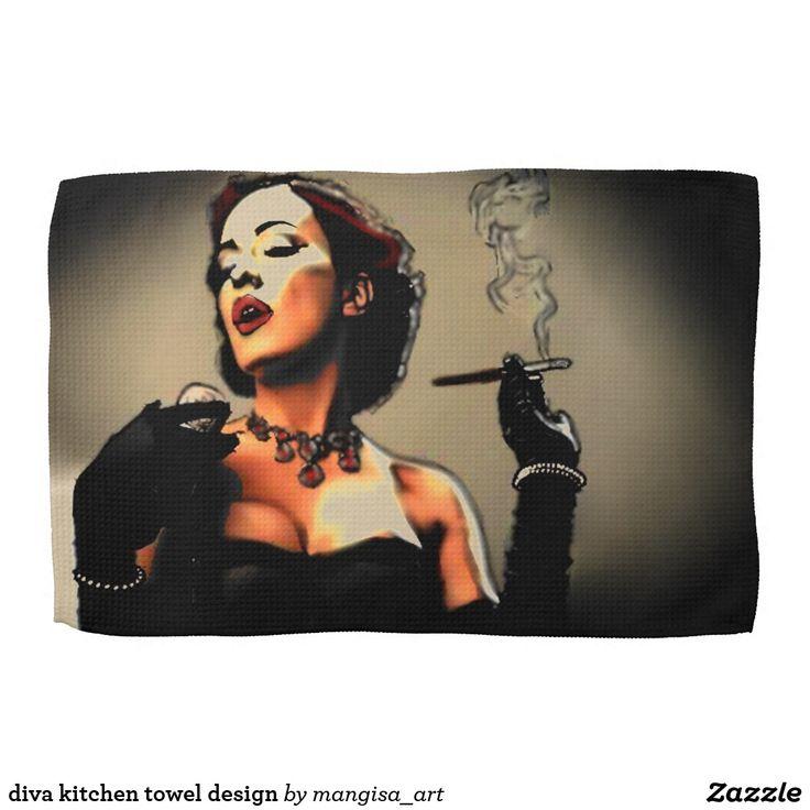 diva kitchen towel design