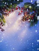 Modrý sníh vánoční pozadí, rám jedle poboček — Stock fotografie