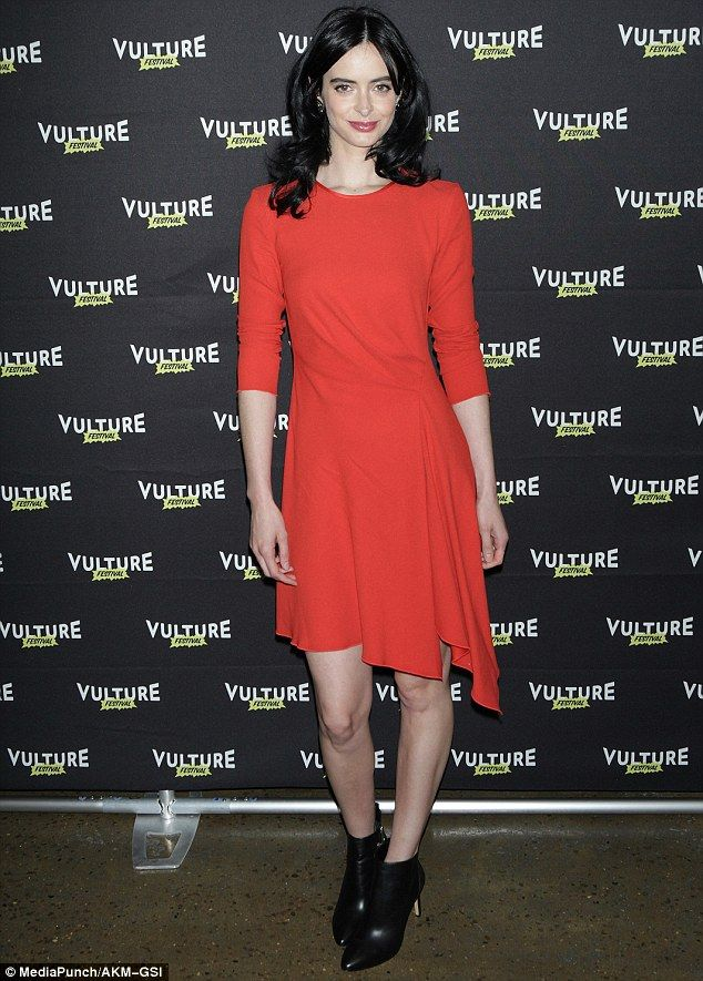Busy day: Earlier on, the raven-haired beauty had attended Vulture Festival where she disc...
