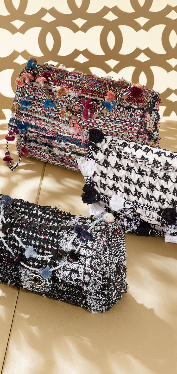 Embroidered fabric classic flap bags - CHANEL, 2015