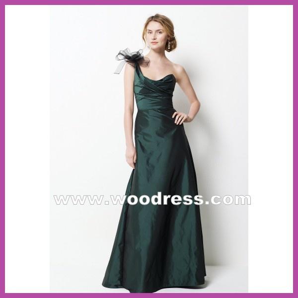 A-line Gown een schouder donkere groene Taffeta Bruidsmeisje Dress stijl 9616